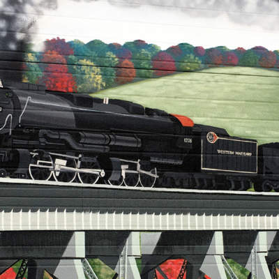 Mural of steam engine in Meyersdale