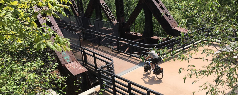 Cyclist entering Keystone Viaduct
