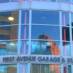 Front of parking garage on First Ave in downtown Pittsburgh