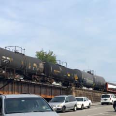 Parking lot in McKeesport beside train