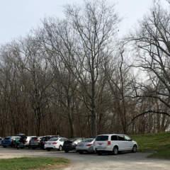 Parking lot near historic brick building at Seneca Creek