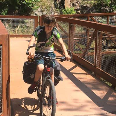 Cyclist on Western Maryland Rail Trail
