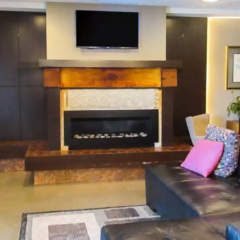 Relaxing space with fireplace, board games, and conversation areas